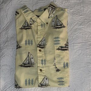 Vintage Sailboat Short Sleeve Button-Down Shirt